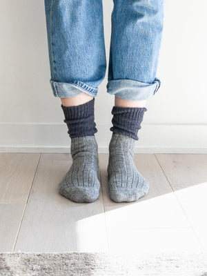 Wool Cotton Slab Socks, Charcoal