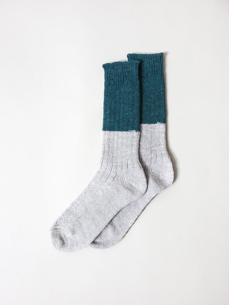 Wool Cotton Slab Socks, Green