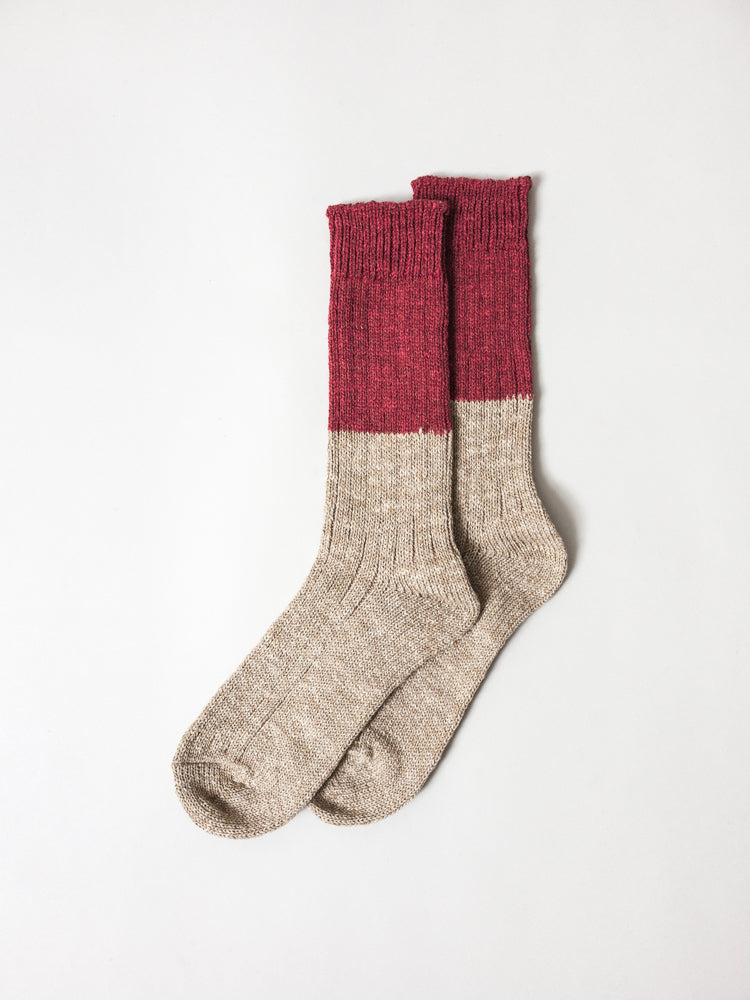 Wool Cotton Slab Socks, Red