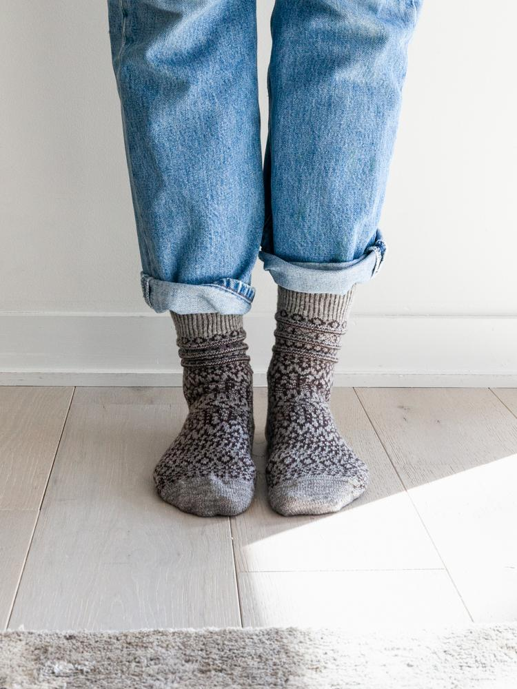 Wool Jacquard Socks, Grey