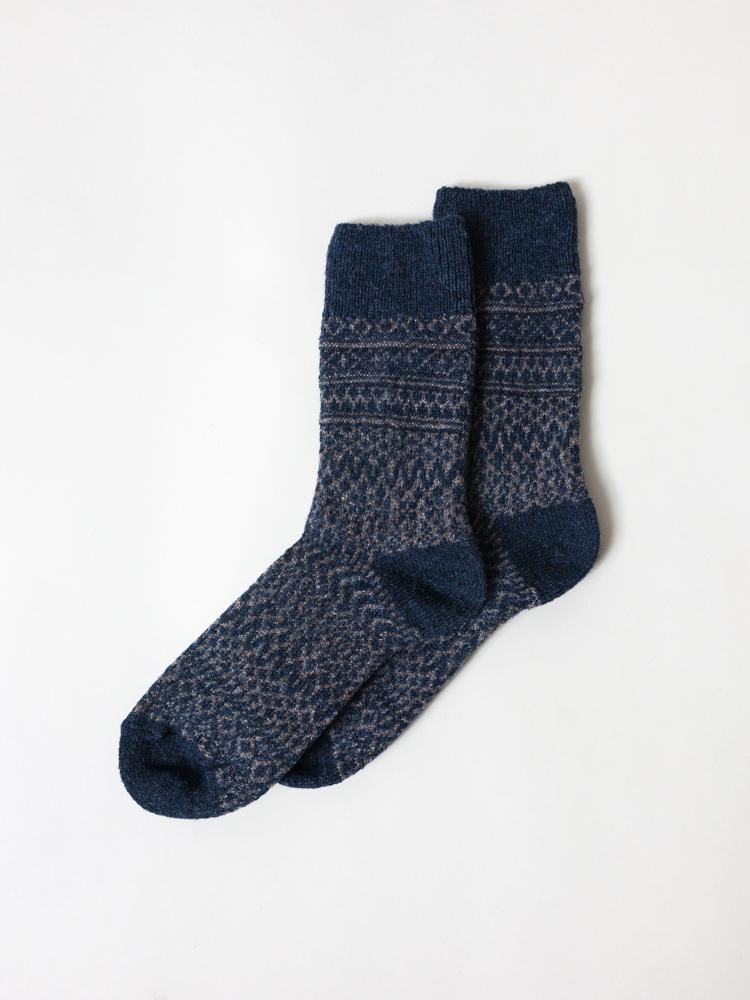 Wool Jacquard Socks, Navy