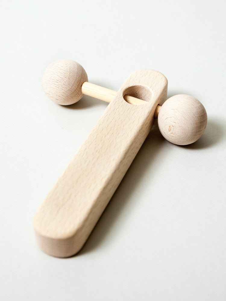 "Beech Wood ""T"" Rattle - rikumo japan made"