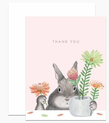 Greeting Card - Bunny Arranging Protea Thank You