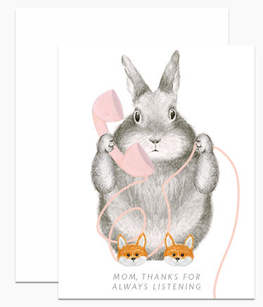 Greeting Card - Mama Bunny in Fox Slippers
