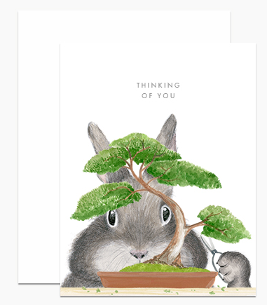 Greeting Card - Bonsai Bunny Thinking of You