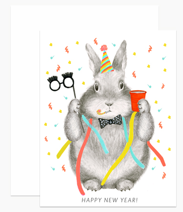 Greeting Card - New Year's Bunny