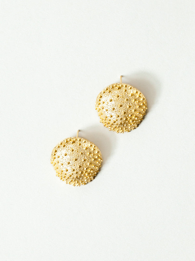 Okamoto Golden Crackle Earrings - rikumo japan made