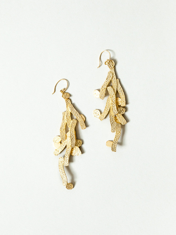 Okamoto Golden Dancer Earrings - rikumo japan made