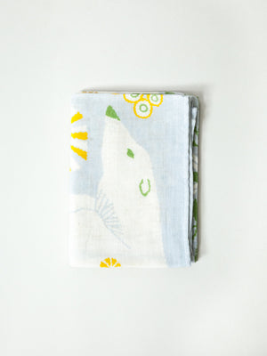 Illustrated Muslin Textile - Polar Bear and Plant - rikumo japan made