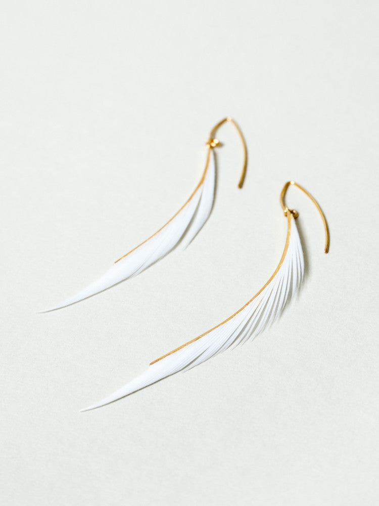 Tomoka Feather Earrings - White