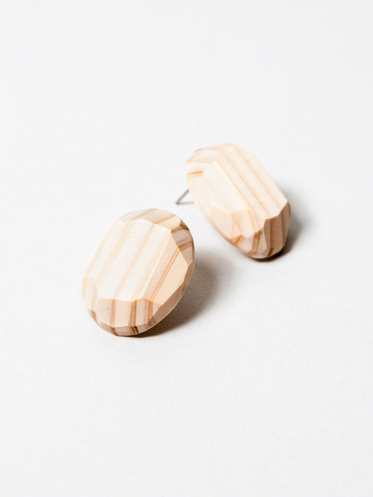 Wooden Gem Earrings - Natural
