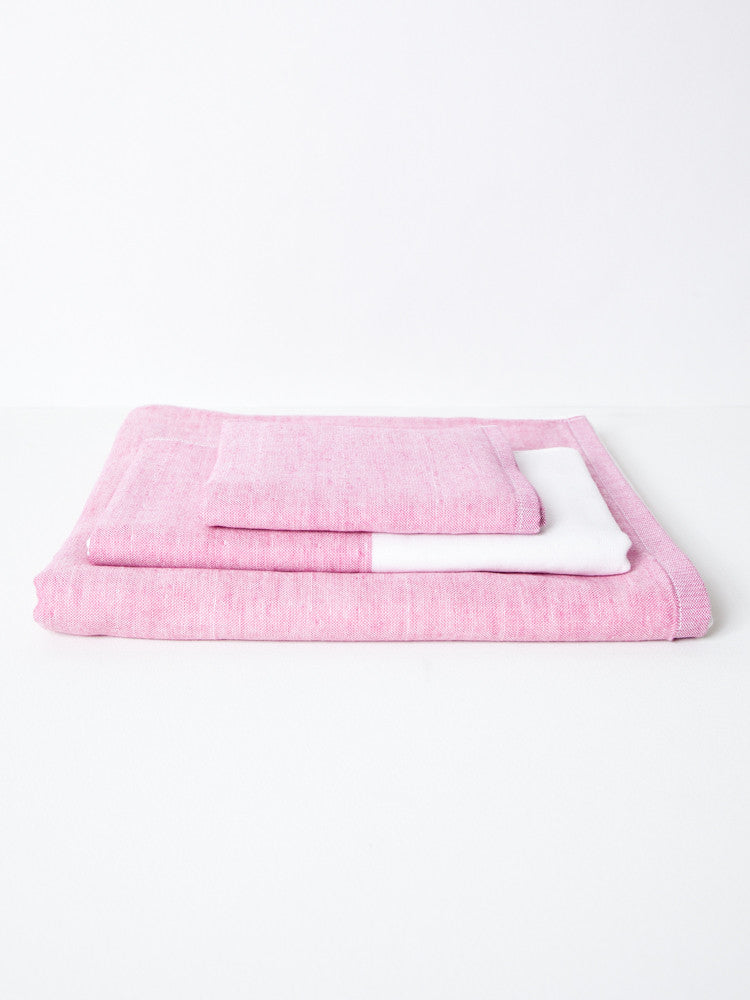 Two Tone Chambray Towel - Pink - rikumo japan made