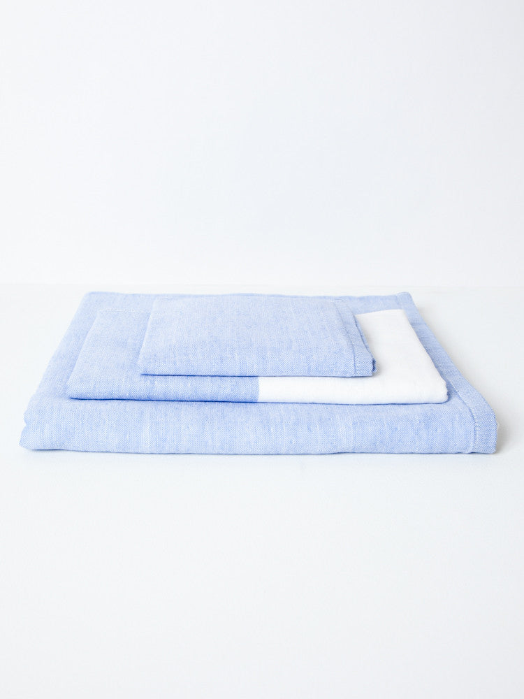 Two Tone Chambray Towel - Blue