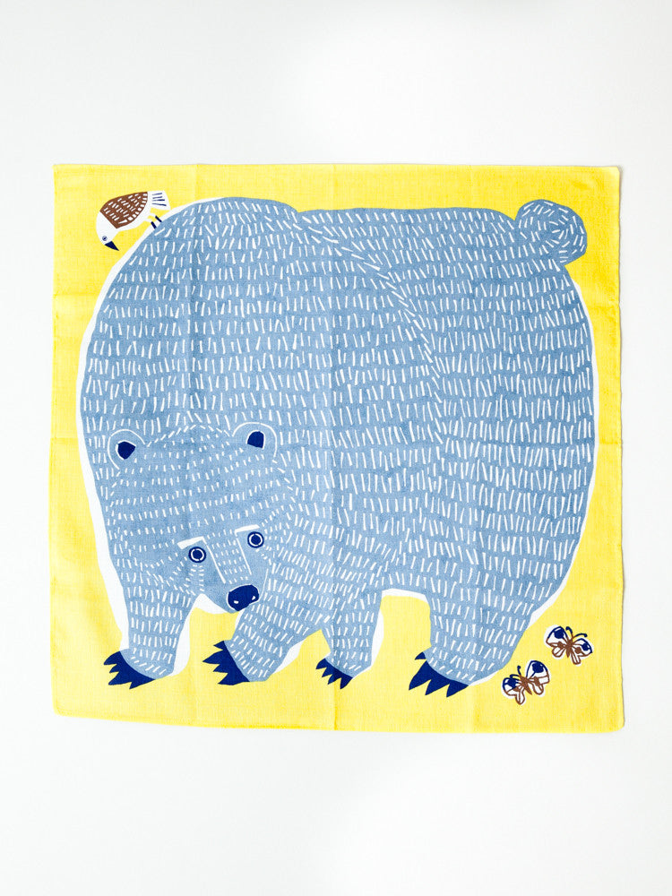 Furoshiki Cloth - Bear and Bird - 50cm - rikumo japan made