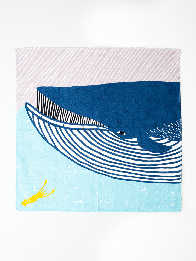 Furoshiki Cloth - Whale and Squid - 50cm - rikumo japan made