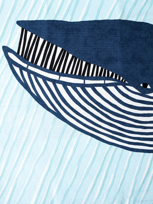 Furoshiki Cloth - Whales - 100cm - rikumo japan made