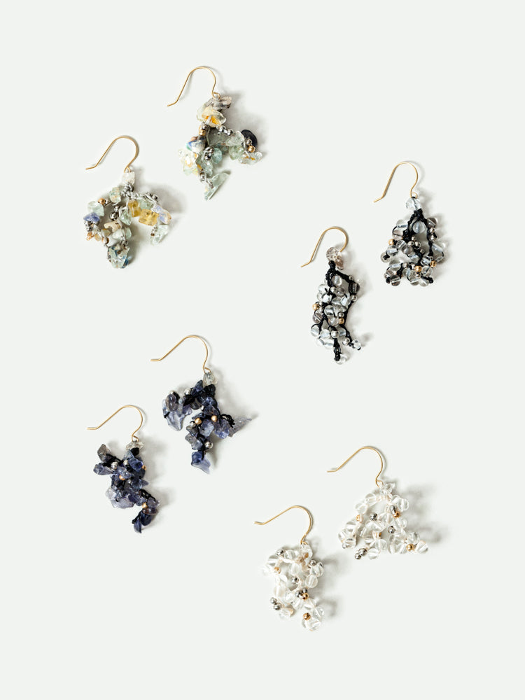 Yasuhide Cluster Earrings - rikumo japan made