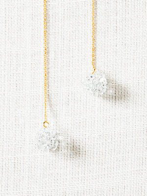 Glass Chain Earrings - Gold Splash - rikumo japan made