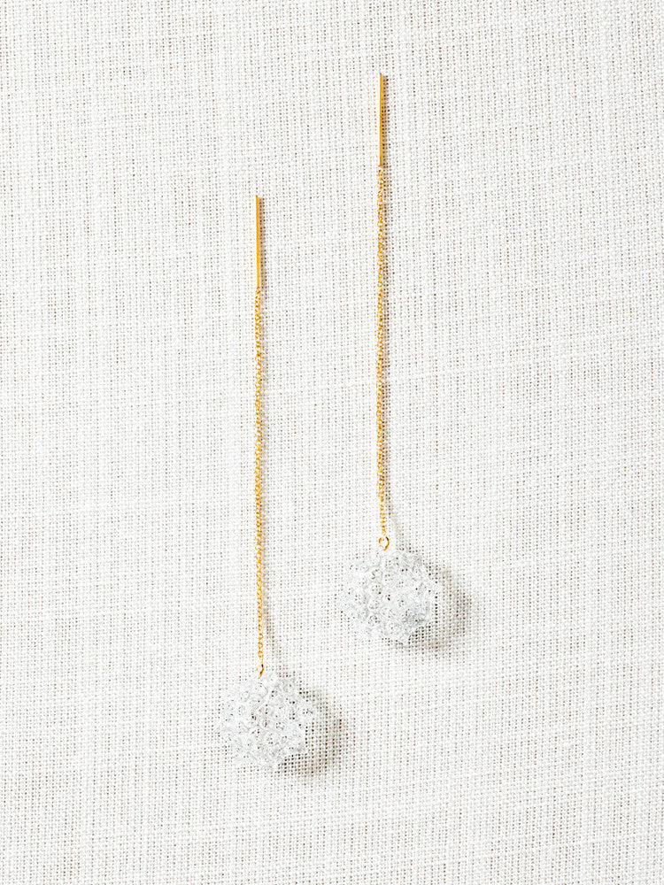 Glass Chain Earrings - Gold Toto - rikumo japan made