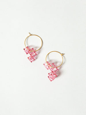 Glass Hoop Earrings - Salt