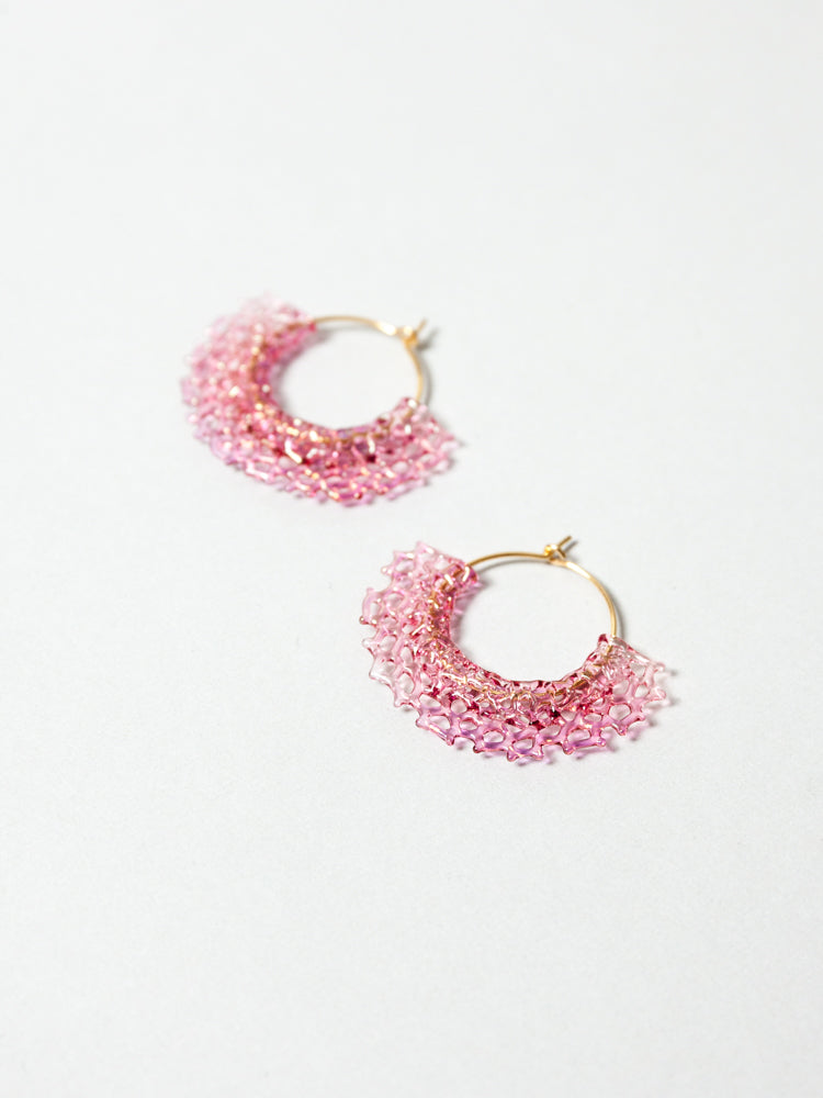 Glass Hoop Earrings -  Sun