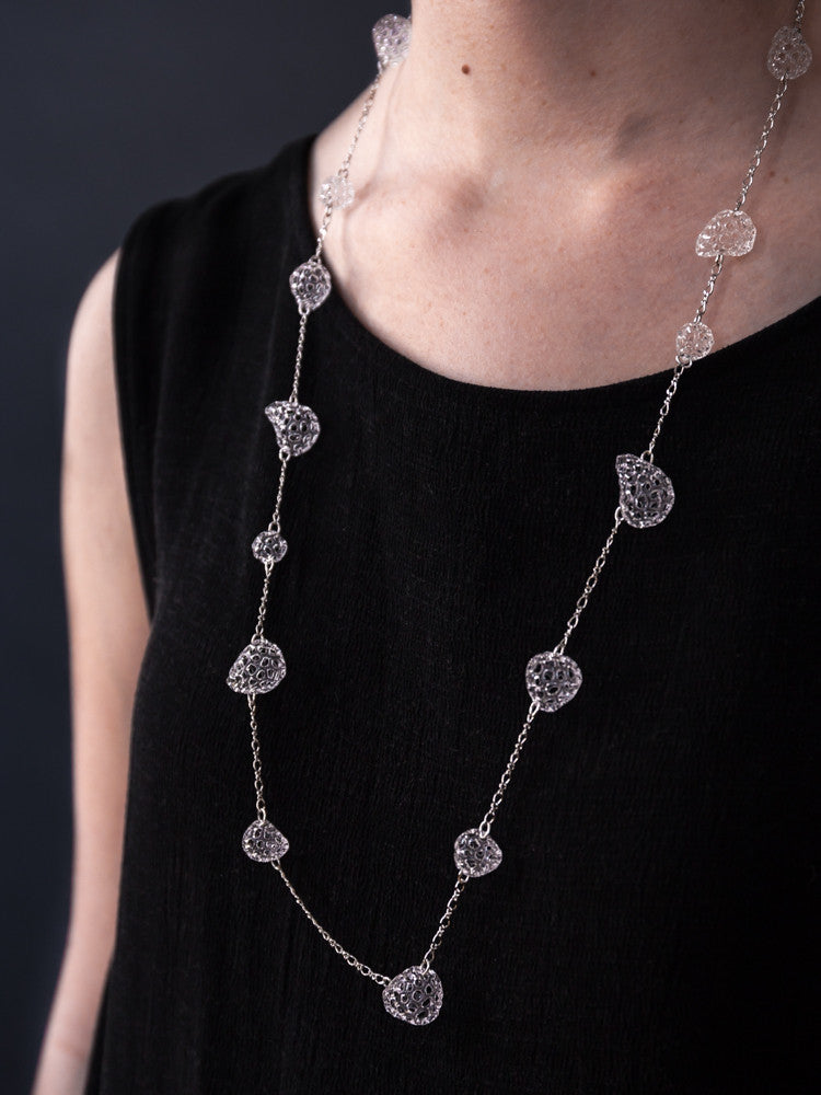 Glass Necklace - Baby Mesh Long Chain - rikumo japan made