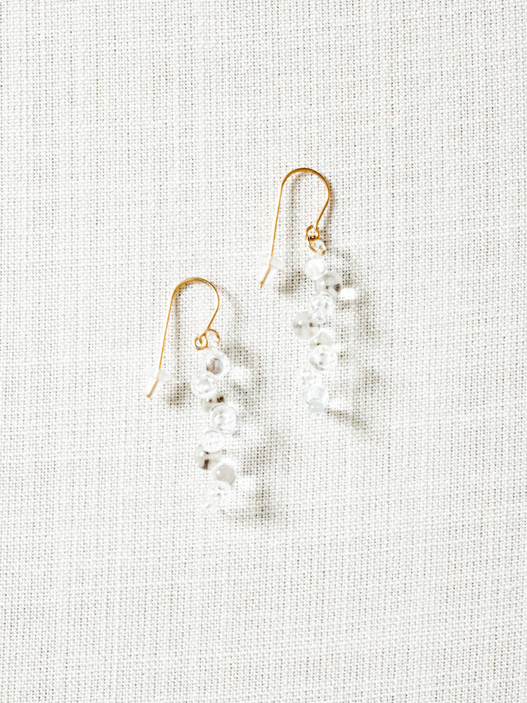 Glass Earrings - Gold Drizzle - rikumo japan made