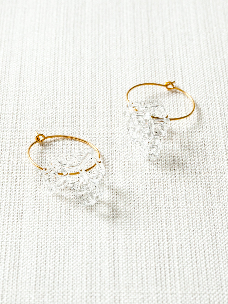 Glass Hoop Earrings - Salt - rikumo japan made