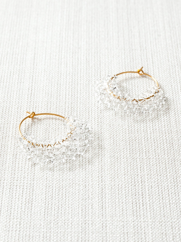 Glass Hoop Earrings -  Sun - rikumo japan made