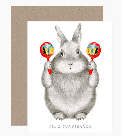 Greeting Card - Bunny Maracas - rikumo japan made