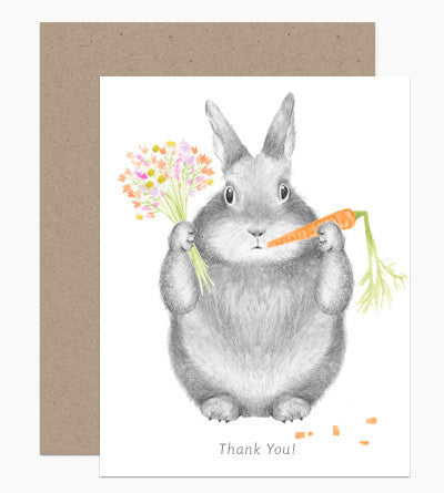 Greeting Card - Thank You Bunny - rikumo japan made