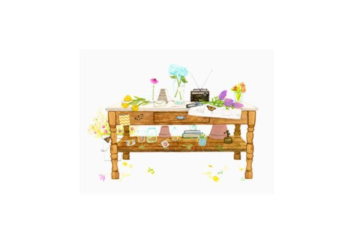 Greeting Card - Spring Desk Flat Note - rikumo japan made