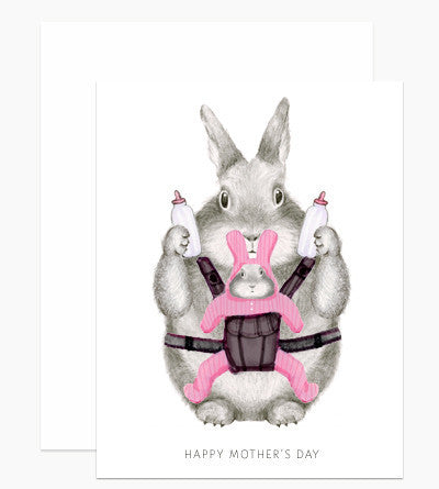 Greeting Card - Mom Bunny - rikumo japan made