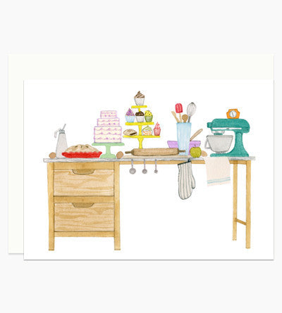 Greeting Card - Baker's Desk Flat Note - rikumo japan made