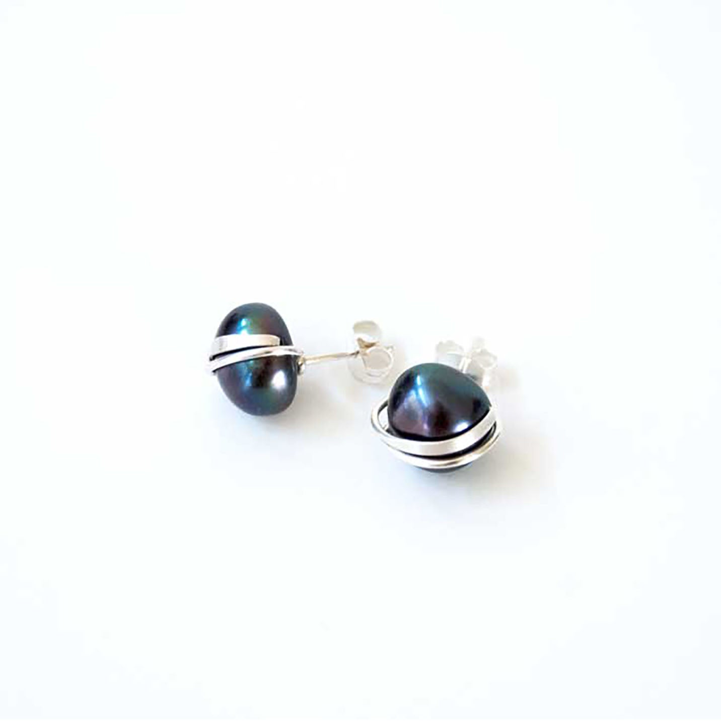 Large Peacock Pearl Studs
