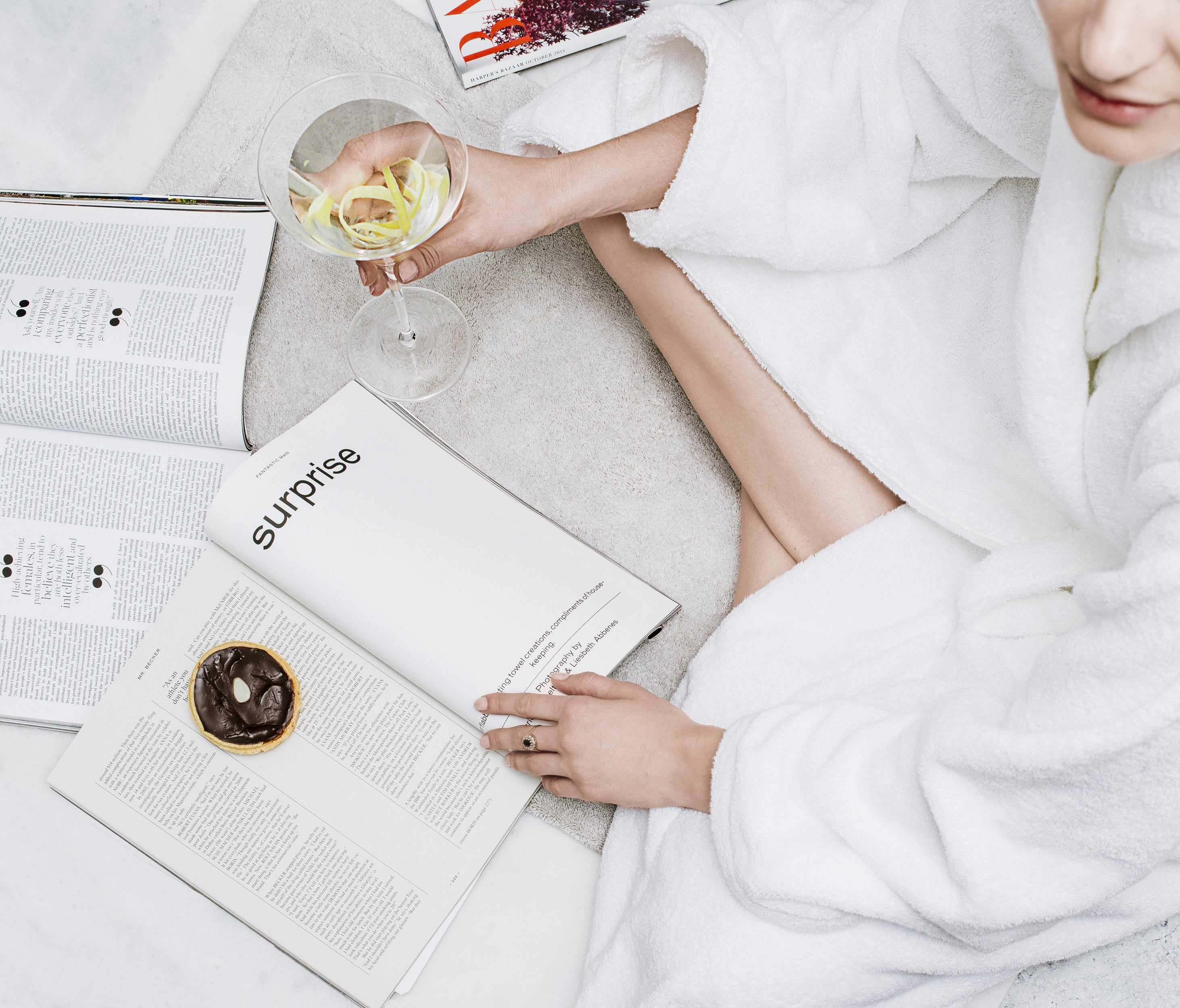 Ready, set, relax in Snowe's bathrobe.