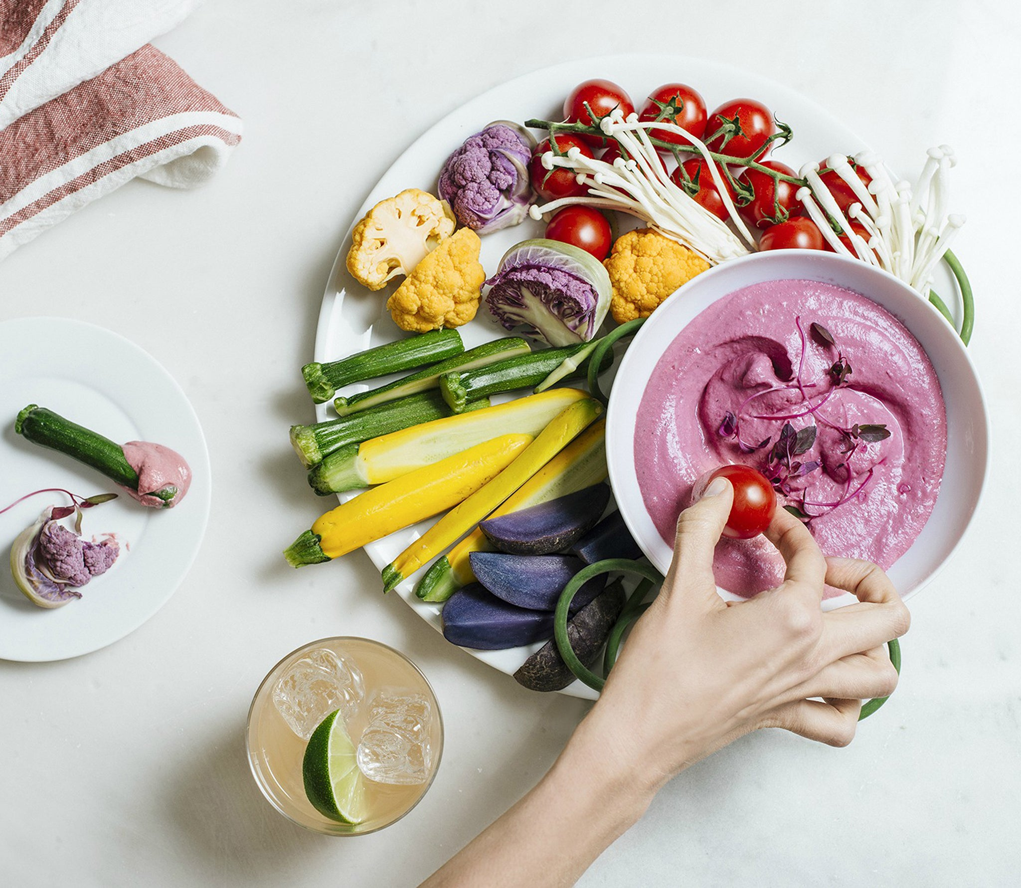 Beet Dip and Crudite