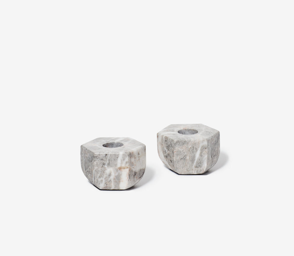 Marble Candle Holders, Set of 2