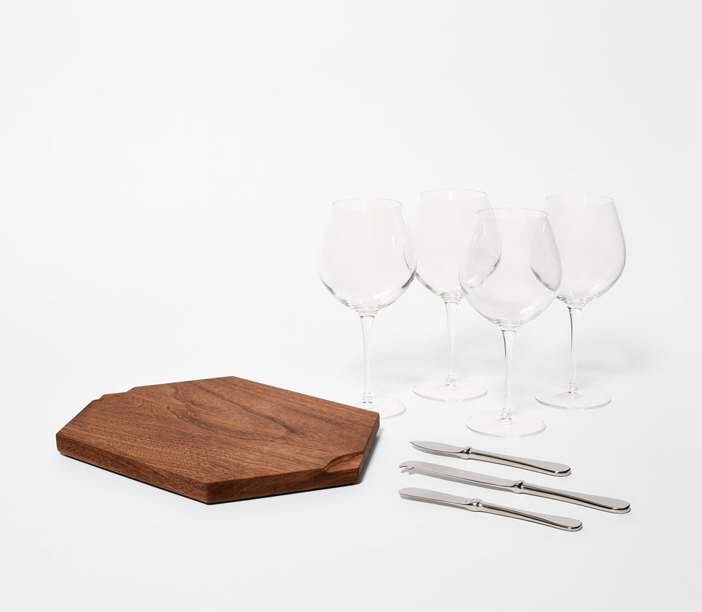Walnut Wine & Cheese Set