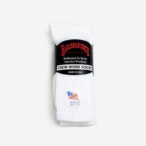 Railroad Crew Socks - White (3 Pack)