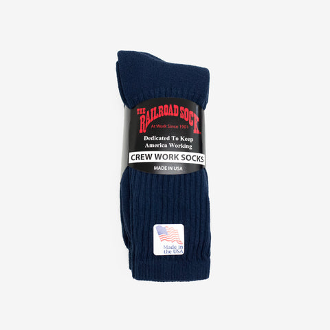 Railroad Crew Socks - Navy (3 Pack)