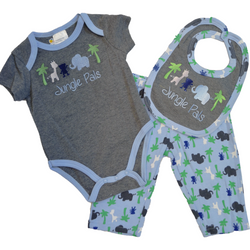 """Jungle Pals"" Blue 3 Piece Set"