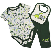 Dino matching bodysuit, bib, and pants