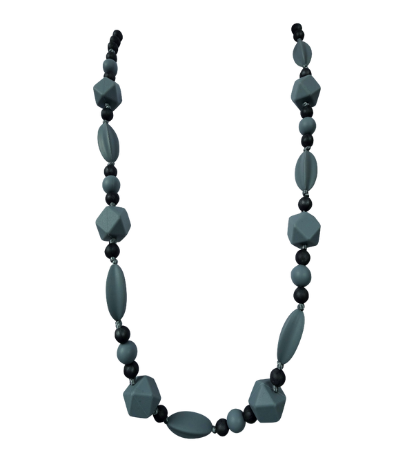 ['Adjustable Teething Necklace in Grey', 'Baby teething necklace']