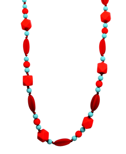 Adjustable Teething Necklace in Red/Turquoise