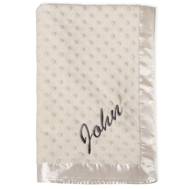 Personalized Embroidered Baby Blanket (White)