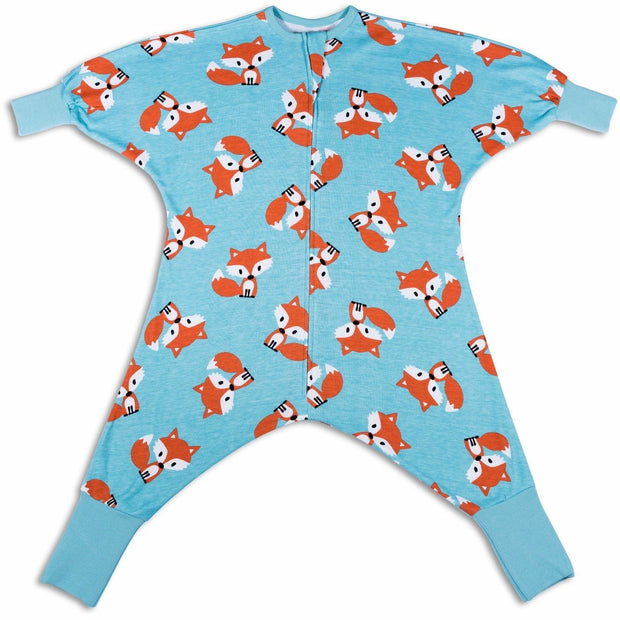 fox print footless one piece pajamas