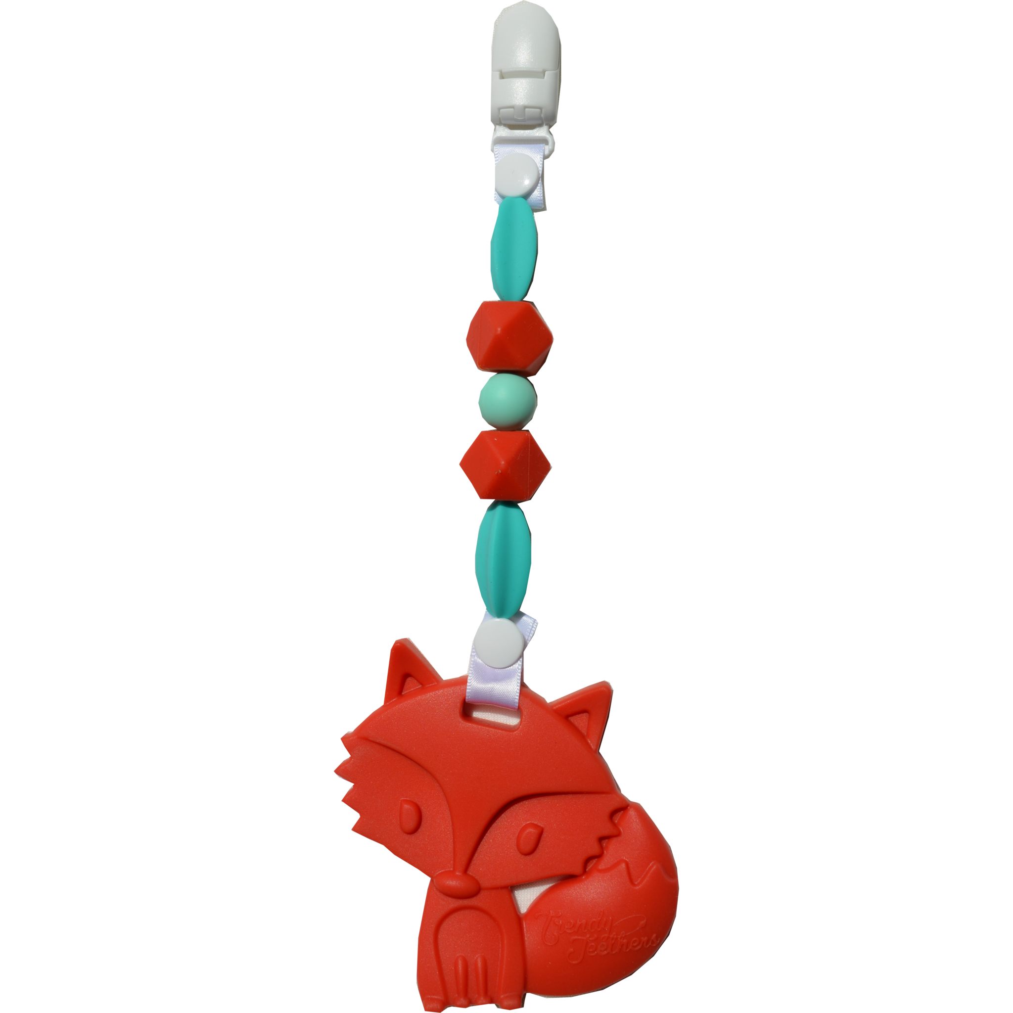Friendly Fox Wearable Clip-On Teether by Sleeping Baby Trendy Teethers are unique, one of a kind, teething necklaces, pacifier clips and attachable baby teethers designed by Stephanie Parker, the creator of the Zipadee-Zip!  Perfect as a sensory tool and to prevent scratching during nursing and great to soothe those little gums during teething. SUPER SAFE FOR BABY! Conforms to safety standards: ASTMF963 and 16CFR and is made from 100% silicone with nylon string for the necklaces and ribbon for the teethers and pacifier clips. No BPA,phalates,PVC,cadmium, or lead Only attach to clothing. Do not attach to cords, bands or belts that could cause a strangulation hazard. Necklaces are to be worn by adults only for babies to chew on. Do not place around a baby's neck. Easily cleaned with soap and water! This is not a toy or a traditional teether.  We'd love to see real mommas and babies stylin' with their Trendy Teethers(tm) so be sure to share your photo on our facebook page here: https://www.facebook.com/pages/Zipadeezip-Slumber-Sacks-wwwzipadeezipcom/140978145992706?ref=br_rs&pnref=lhc -  Friendly Fox  Wearable Clip-On Teether by Sleeping Baby