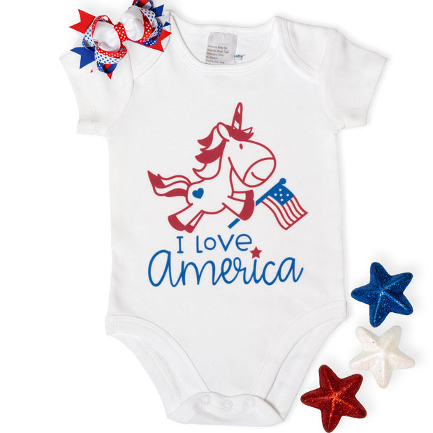 """I Love America"" Unicorn 4th of July Baby Bodysuit"