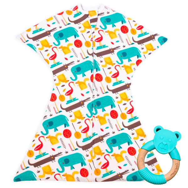Modern Animals Zipadee-Zip + Bear Teether (Blue)